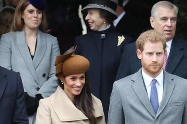 Herzogin Catherine, Prinzessin Eugenie,Prinz William, Prinzessin Beatrice, Herzogin Meghan, Prinzessin Anne, Prinz Harry undPrinz Andrew