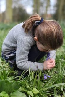 Prinzessin Charlotte riecht an einem Blauglöckchen