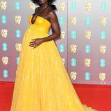 Model und Schauspielerin Jodie Turner-Smith ist ohnehin bildschön. Bei den BAFTAs 2020 präsentierte sie in einer Traumrobe von Gucci überglücklichBabykugel und Schwangerschaftsglow.
