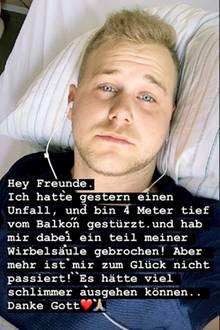 Felix van Deventer meldete sich nach seinem Balkonsturz über Instagram zu Wort.