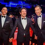 Hand in Hand zur Eröffnungsgala:Andreas Bourani, Fahri Yardim und Kai Pflaume amüsieren sich prächtig.