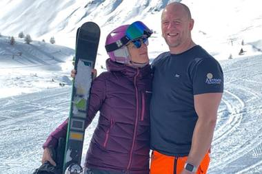Zara + Mike Tindall bei Skifahren