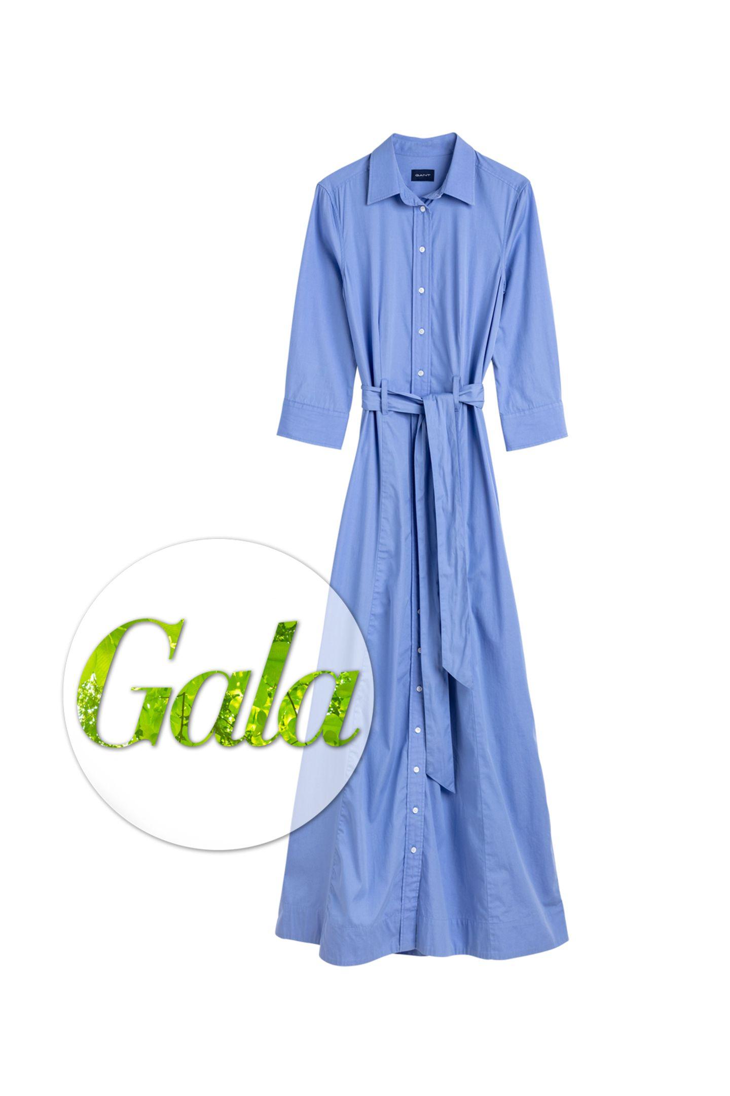 """Gant setzt mit einer """"7 Rules"""" Nachhaltigkeitskampagne ein Zeichen. Teil der Kollektion ist auch dieses schöne feminine Kleid aus Baumwolle und Lyocell, ca. 180 Euro."""
