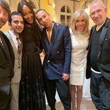 Zu den geladenen Gästen zählen unter anderemPierpaolo Piccioli,Imran Amed, Naomi Cambell, Olivier Rousteing undJean Paul Gaultier (von links nach rechts).