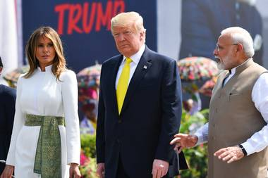 Melania Trump, Donald Trump und Indiens Premierminister Narendra Modi