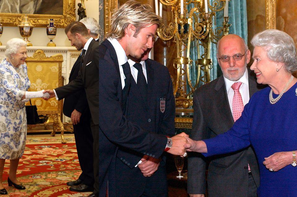 """Zwei, die sich schon lange kennen: David Beckham und Queen Elizabeth trafen bereits des Öfteren aufeinander. 2003 erhielt er von der Königin sogar den""""Order of the British Empire""""."""