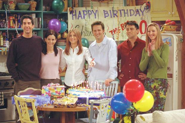 Ross (David Schwimmer), Monica (Courteney Cox), Rachel (Jennifer Aniston), Chandler (Matthew Perry),Joey (Matt LeBlanc) und Phoebe (Lisa Kudrow)