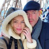 Kalt, aber unglaublich romantisch: Kate Bosworth und ihr Mann Michael Polish genießen nach ihrem Mittagessen im Restaurant im zweiten Stock des Eiffelturms noch die atemberaubende Aussicht über Paris.