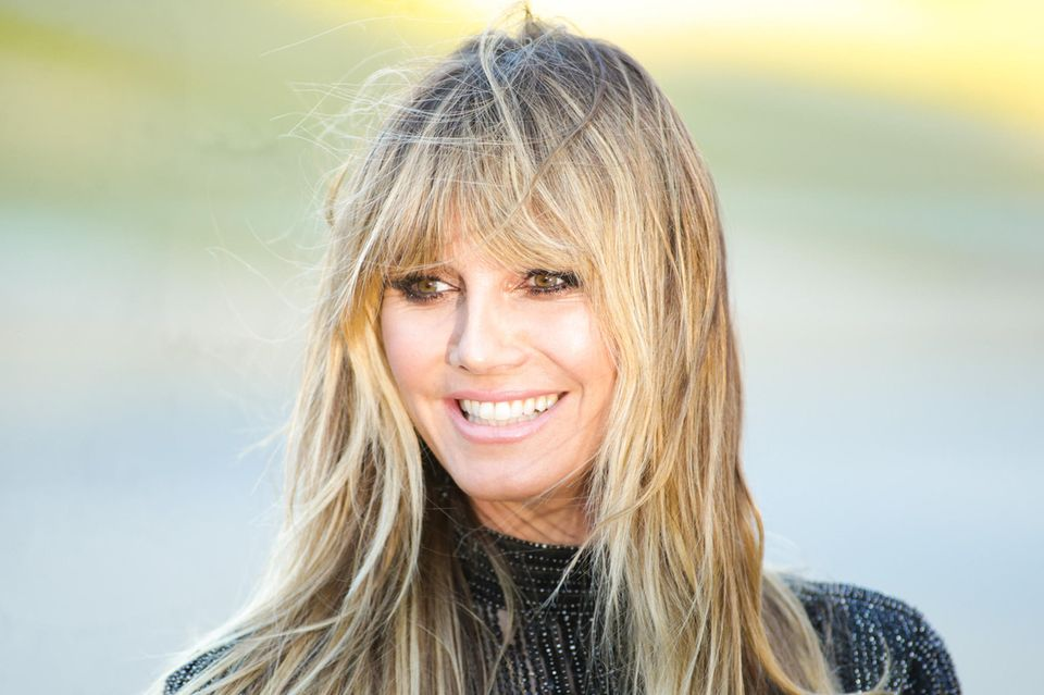 Heidi Klum mit Curtain Bangs