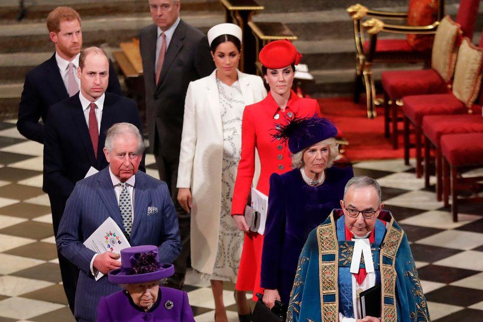 """Bei ihrem letzten offiziellen Termin als """"Senior Royals"""" werden Prinz Harry und Herzogin Meghan nicht - so wie hier im Jahr 2019 -Teil der königlichen Parade durch die Westminster Abbey sein."""