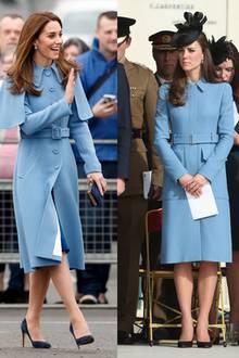 Blau, blau, blau sind alle ihre Mäntel... Herzogin Catherine besitzt mehrere Modelle, die dem von Carrie Symonds sehr ähnlich sind.