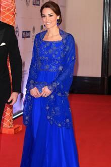 Herzogin Kate trug das blaue Kleid von Jenny Packham schon 2016 in Indien.