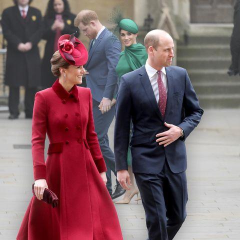 Prinz Harry und Herzogin Meghan verabschieden sich. Prinz William und Herzogin Catherine sind beim Termin in der Westminster Abbey dabei (Fotomontage).