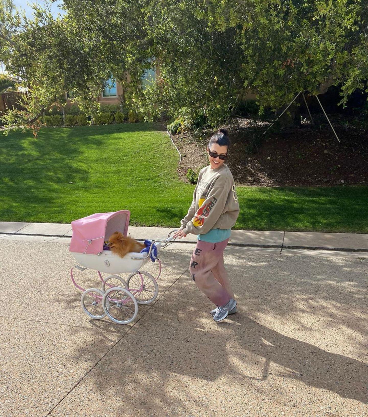 24. März 2020  In Zeiten der Coronaviruskrise verschafft sich Kourtney Kardashian in ihrer Quarantäne ein wenig Bewegung. Schnell mal eben den Puppenwagen ihrer Kinder geschnappt, Hündchen rein, und los geht's.