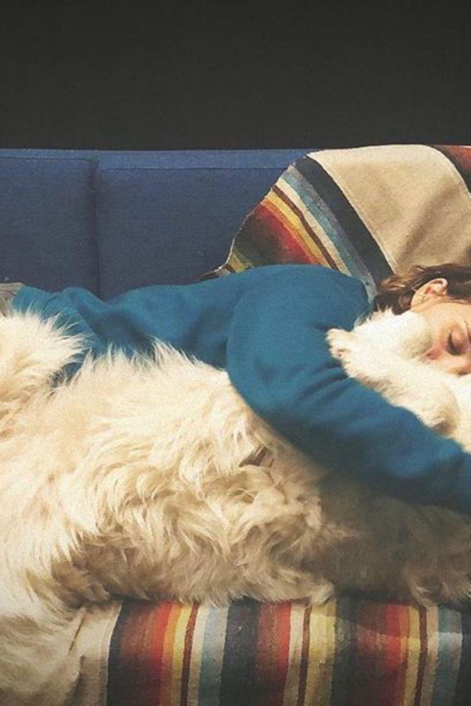 """Schauspielerin Natalie Portman und ihr Hund Sunday machen kein """"Social Distancing"""", sondern kuscheln die Coronakrise aus."""