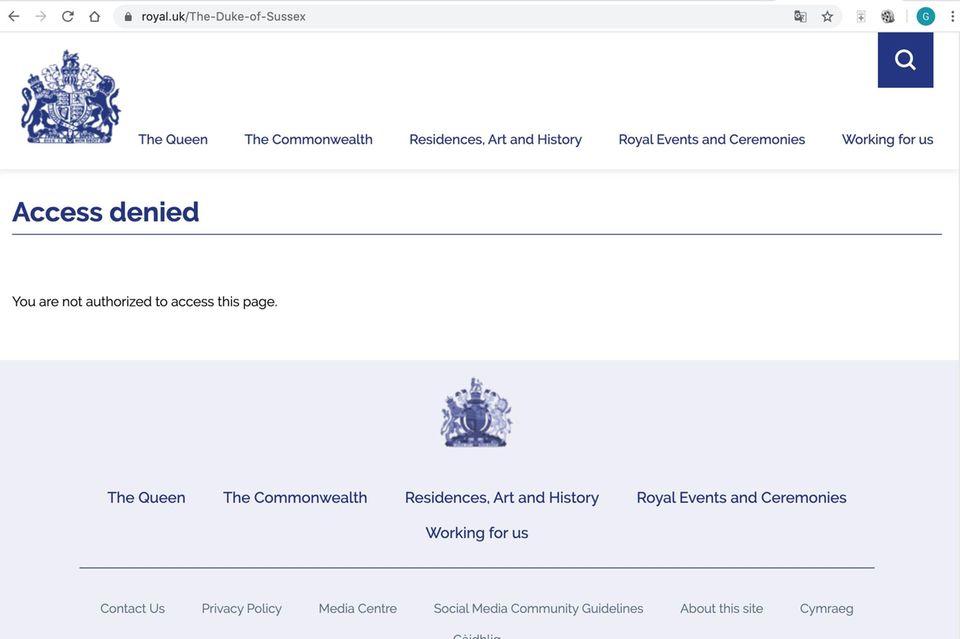 Das Profil von Prinz Harry ist derzeit nicht abrufbar (Stand: 3. April, 9:45Uhr)