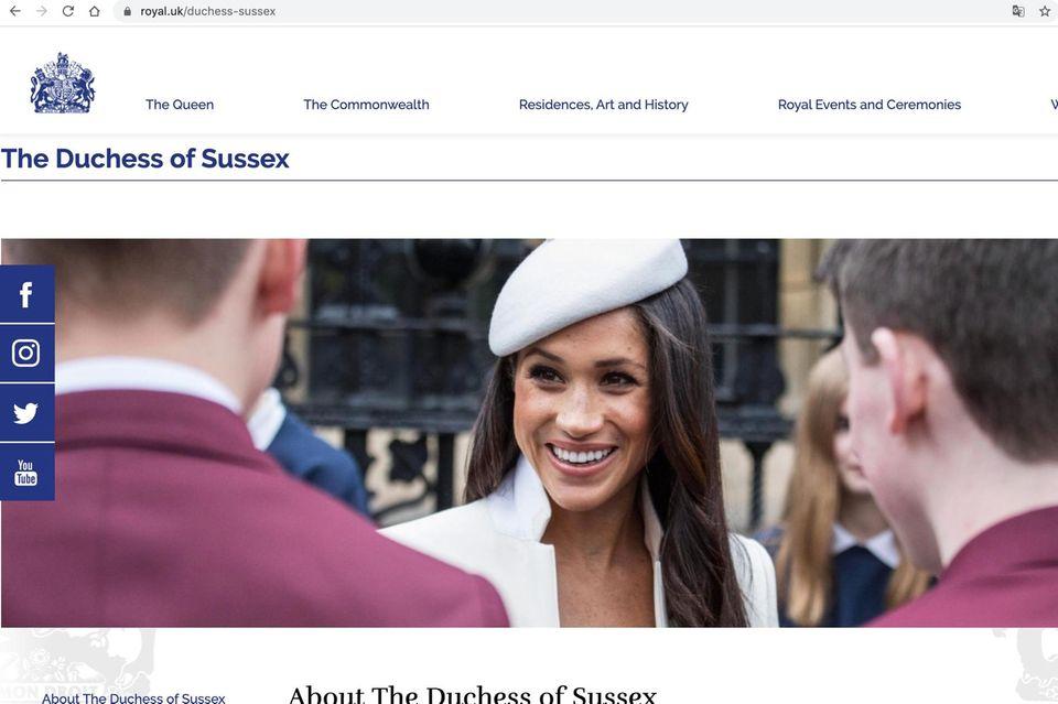 Das Profil von Herzogin Meghan ist auf der Palast-Website noch abrufbar (Stand: 3. April, 09:45 Uhr).