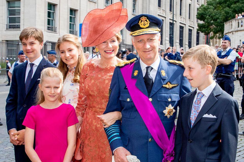 König Philippe, Mathilde, Elisabeth, Gabriel, Emmanuel, Elénore