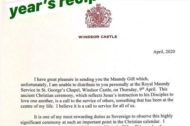 Diesen langen Brief schrieb die Queen an die Empfänger des Maundy Money.