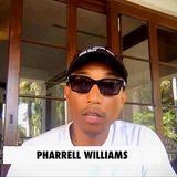 Pharrell Williams singt zwar nicht, sagt aber im Interview, dass erglücklich ist, dass es ihm und seiner Familie gut geht. Damit es anderen Menschen auch so geht, bittet er um großzügige Spenden.