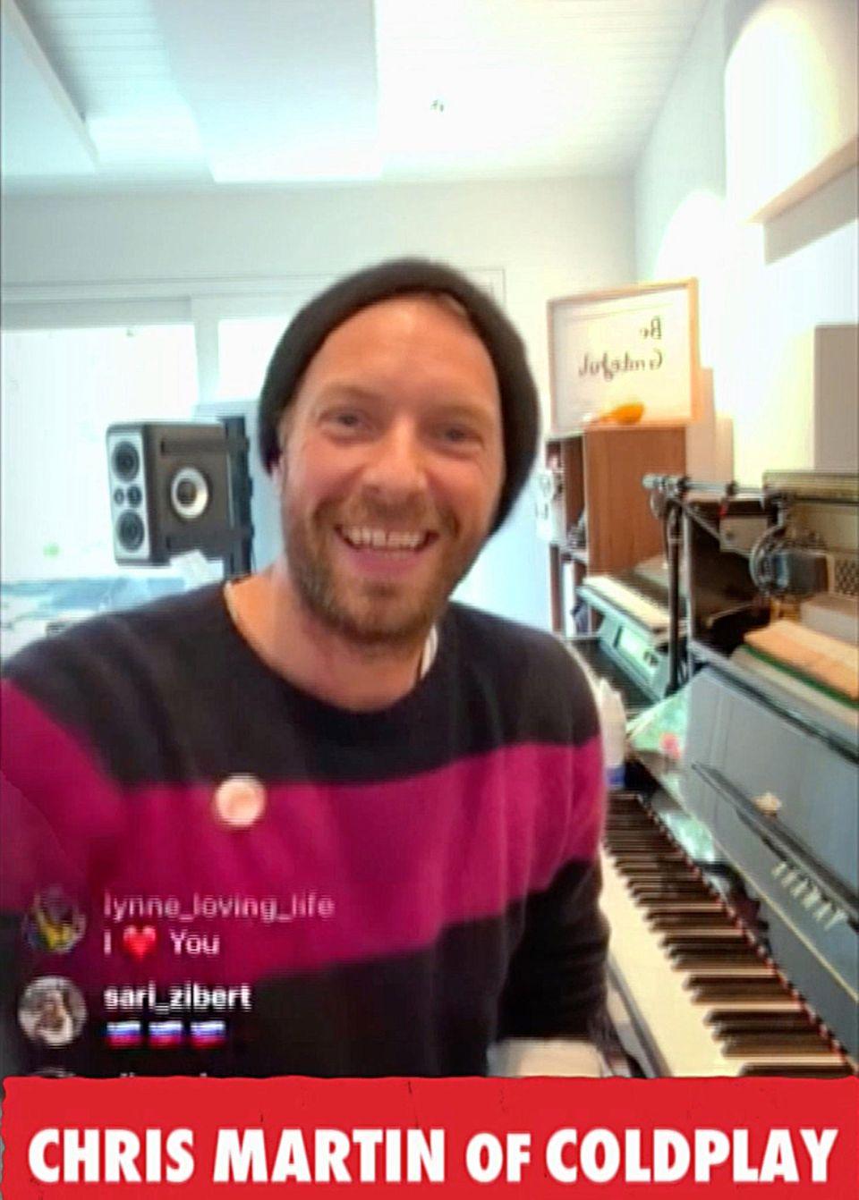 """Chris Martin hat das Konzept des Events entwickelt. Bereits im März gab der Sänger der Gruppe Coldplay im Rahmen der """"Together, At Home""""-Aktion von """"Global Citizen"""" auf Instagram ein Mini-Konzert."""
