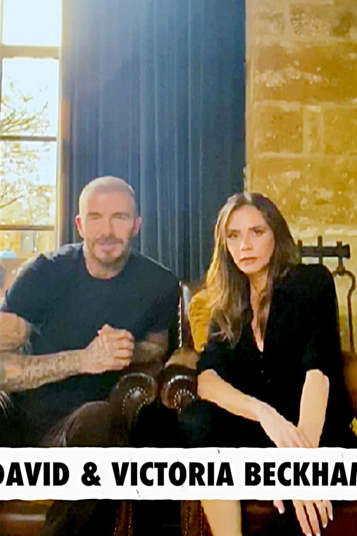 David und Victoria Beckham sind für den Spendenaufruf aus England zugeschaltet.