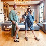 Rollentausch im Hause Williams: Robbie trägt Aydas Morgenmantel, Ayda sieht in Robbie Klamotten ganz lässig aus. Alles gegen die Langeweile ...