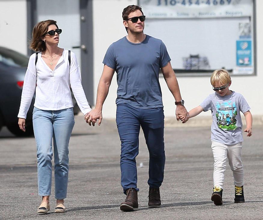 Katherine Schwarzenegger mit Ehemann Chris Pratt und dessen Sohn Jack im Herbst 2019