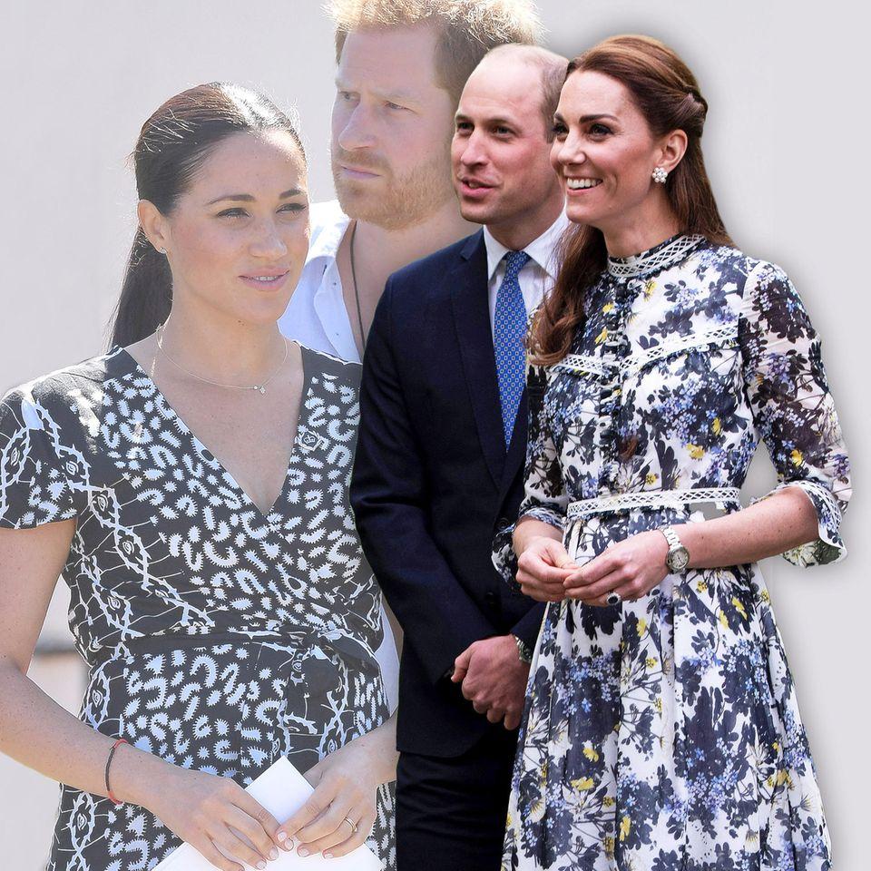 """Herzogin Meghan, Prinz Harry, Prinz William und Herzogin Catherine, die ehemaligen """"Fantastischen Vier"""" des britischen Königshauses."""