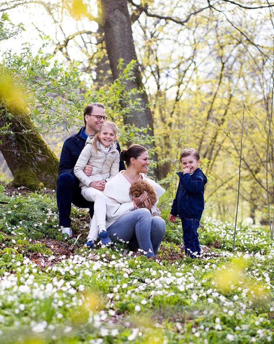 Zur Begrüßung des kuscheligenFamilienmitgliedes posieren Prinz Daniel und Prinzessin Victoriamit Estelle und Oscar sowie Cavapoo-Mischling Rio für ein neues, vollständiges Familienporträt im schönen Schlossgarten.