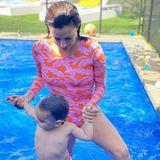 Eva Longoria im Partnerlook mit ihrem Sohn