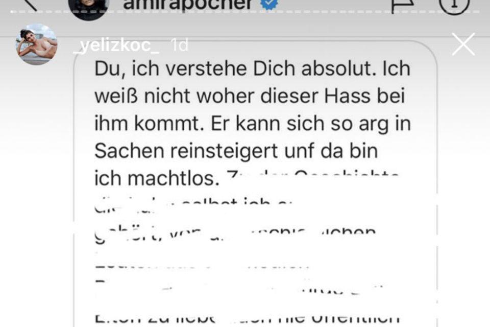 Auf Instagram postet Yeliz Koc den Chatverlauf mit Amira Pocher.