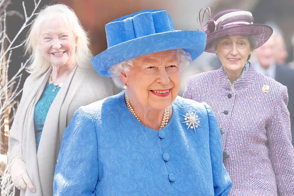 Queen Elizabeth (Mitte) und ihre Freundinnen Angela Kelly (l.) und Lady Susan Hussey (r.).