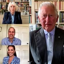 Herzogin Camilla, Prinz William, Herzogin Catherine, Prinz Charles, Prinzessin Anne, Gräfin Sophie und Prinzessin Alexandra grüßen per Video, die Queen per Audio-Spur.