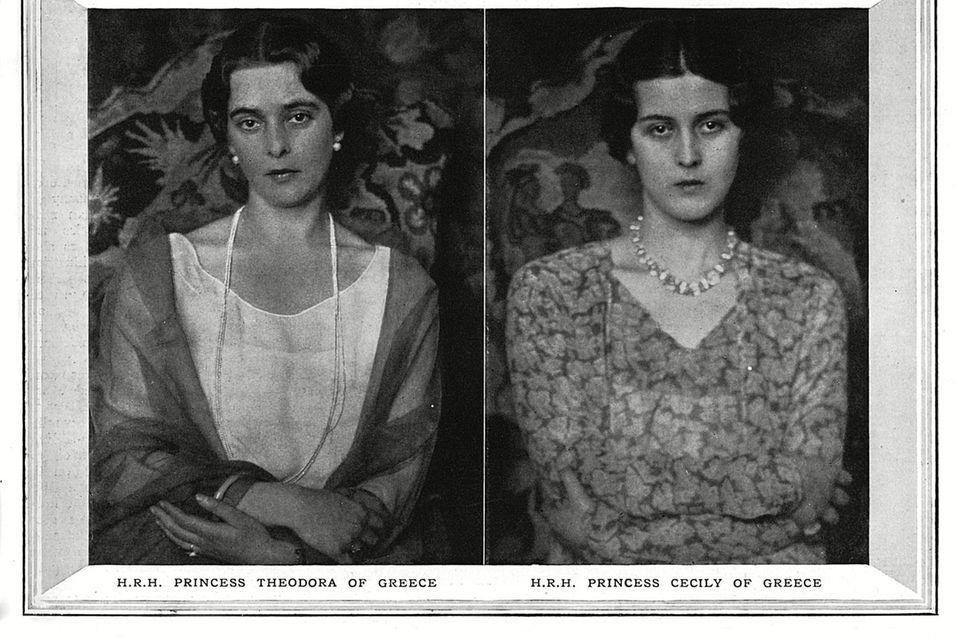 Die vier Schwestern von Philip. Obere Reihe:Prinzessin Margarita (l.) und Prinzessin Sophia (r.). Untere Reihe:Prinzessin Theodora(l.) und Prinzessin Cecilie (r.).