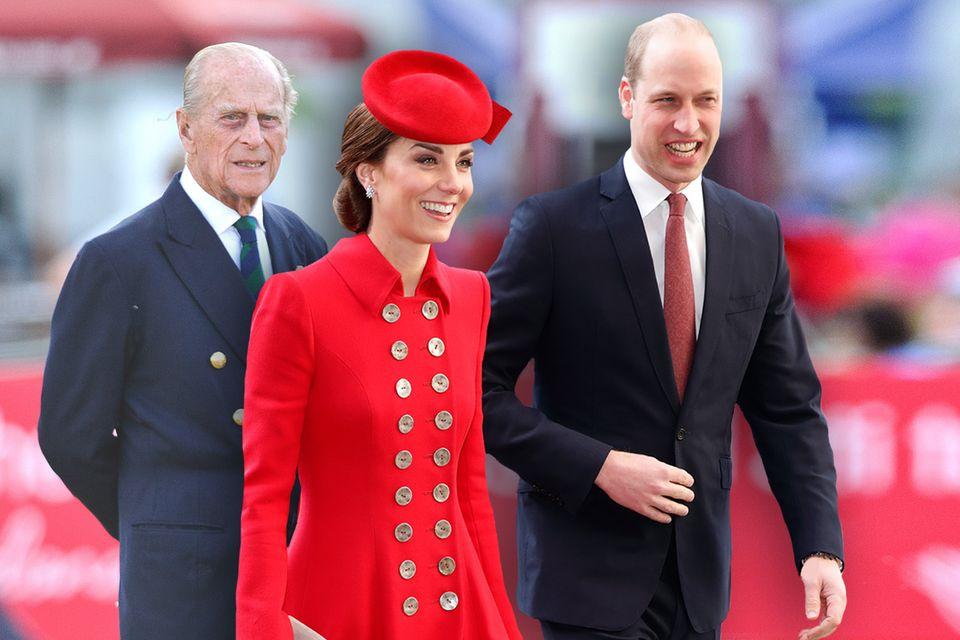 Prinz Philip und Herzogin Catherine mit Prinz William. Die Windsors sorgen mit allerhand Geschichten für Gesprächsstoff.