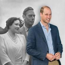 Queen Mum, geborene Elizabeth Bowes-Lyon, und König George V. Sie und Urenkel Prinz William sorgen für Gesprächsstoff in den Geschichtsbüchern.