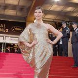 Linda Evangelista glänzt 2008 in Gold-Look von Lanvin.