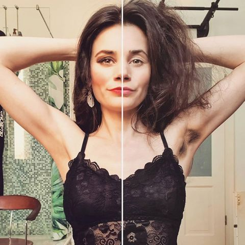 Jetzt wird's haarig: Schauspielerin Joyce Ilg zeigt, was die Zeit in Isolation mit ihr gemacht hat. Auf humorvolle Weise präsentiert sie ein Vorher-Nachher-Bild aus ihrem Badezimmer.