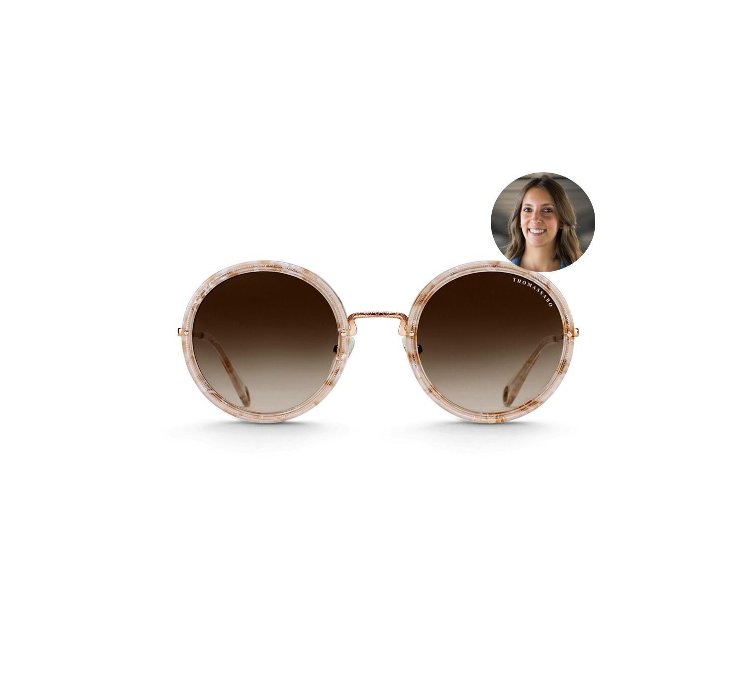 Oversized ist Trend: Redakteurin Jessica testet die Romy-Ethno-Sonnenbrille von Thomas Sabo.