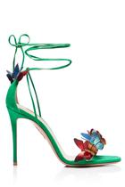 """Schmetterlinge im Bauchbekommen wir augenblicklich bei diesen wunderschönen Stilettosmit 10,5 cm Absatz aus Wildleder. """"Papillon Sandal"""" von Aquazzura, ca. 695 Euro"""