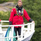 """5. Juni 2020  Anlässlich des Weltumwelttags gehtPrinz Haakon von Norwegen an Bord der""""G.M. Dannevig"""" im Rahmen seines Besuches beim Institutfür Meeresforschung und Raet-Nationalparkin Arendal."""