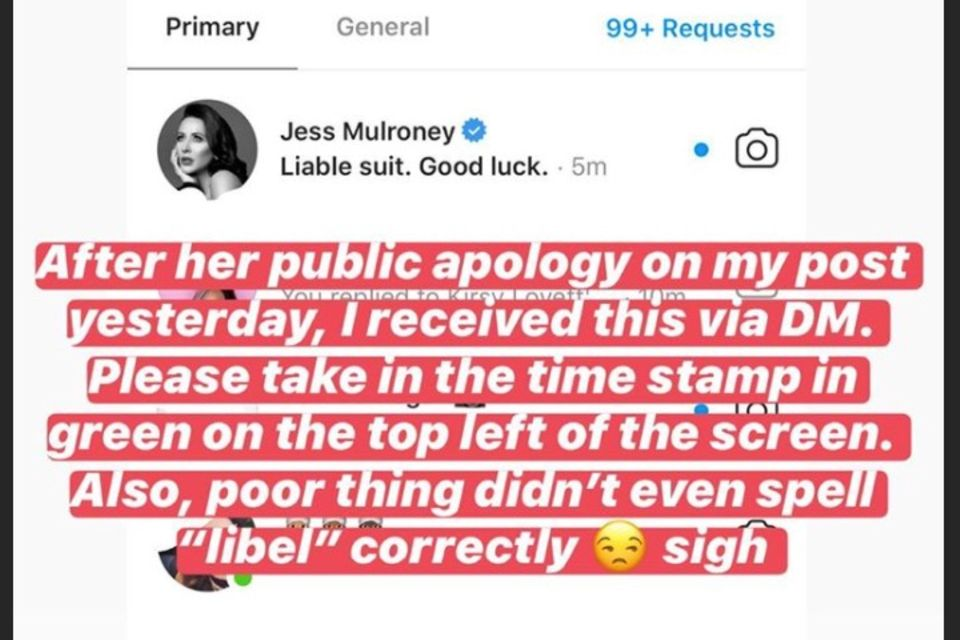 Dieser Screenshot soll beweisen, dass Jessica Mulroney Sasha Exeter mit einer Klage droht.