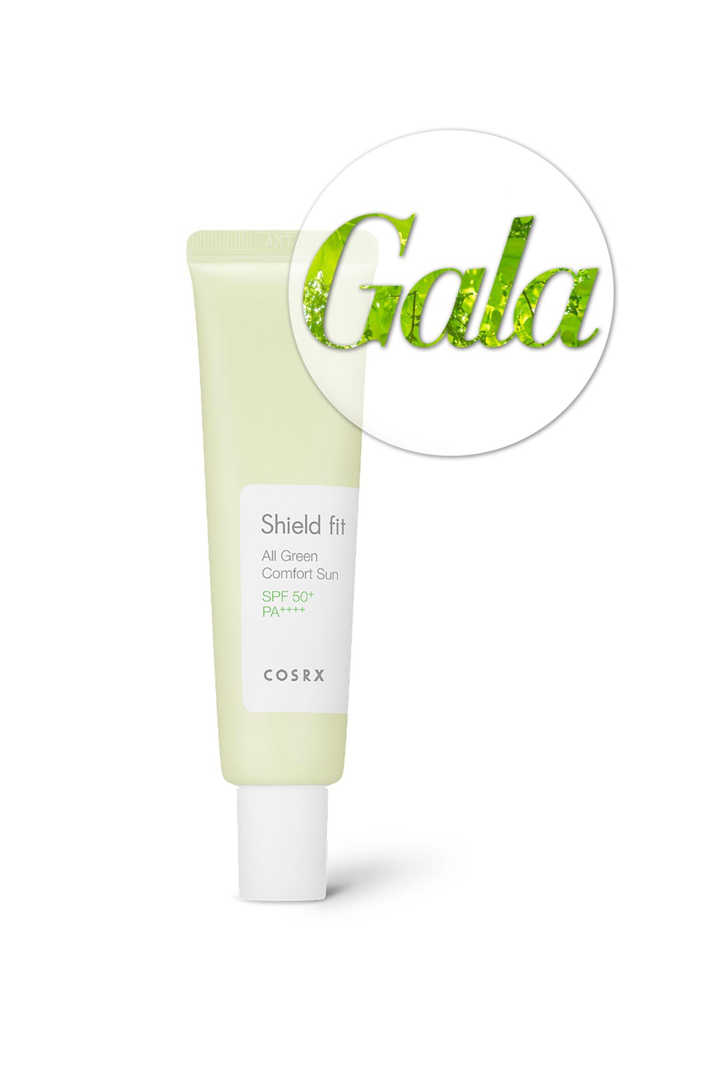 """Sie suchennach einem 100 Prozent EWG zertifizierten Sonnenschutz? Dannist """"Cosrx Shield Fit All Green Comfort Sun SPF50"""" genau das richtige für Sie. Das Produkt schützt die Haut jedoch nicht nur vor der Sonne, sondern kommt auch mit pflegenden Inhaltsstoffen für reichhaltige Vitalisierung und Feuchtigkeitszufuhr daher. Die Creme hat ein mattes Finish und weißelt nicht - die optimale Grundlage für das Tages-Make-Up. Ca. 19 Euro über LoveMyCosmetic."""