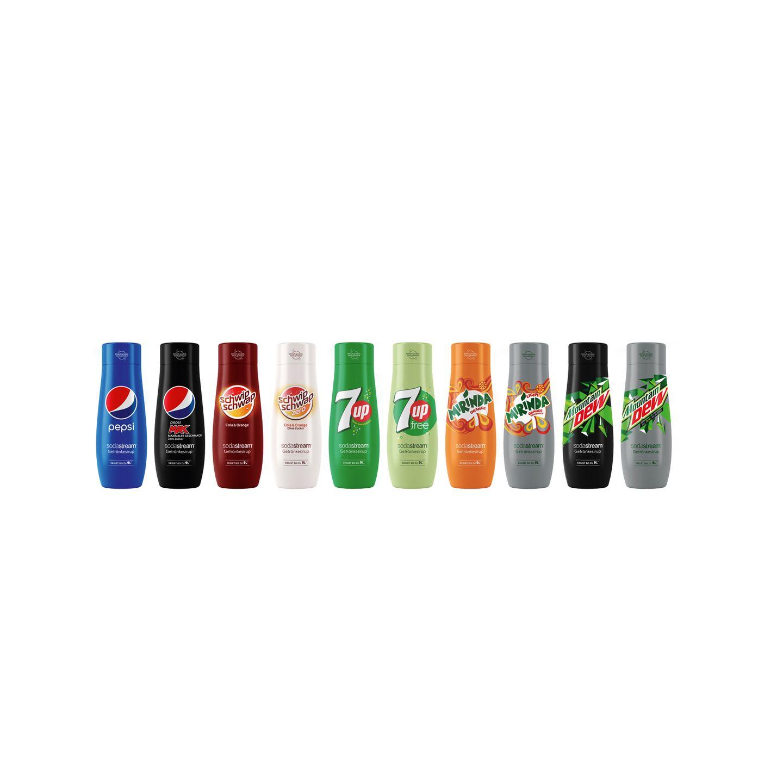 """Eiskalte Softdrinksmixen wir uns diesen Sommer einfach selbst. Die beliebtesten Getränke der Pepsi-Familie gibt es nun als Sirup für Zuhause. Sodastream Sirup """"Pepsi-Kollektion"""", jeweils ca. 5 Euro für 440 ml (ergibt neun Liter Getränk)"""