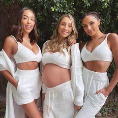 Drei Schwestern und ein Baby(bauch): Olivia Culpo (r.) hat mit ihren Schwestern Sophia (l.) und Aurora gerade ein gemeinsames Fotoshooting beendet, und Auroras Babybauch nach zu urteilen, könnte das neue Familienprojekt vielleicht etwas mit Mutter-Kind-Fashion zu tun haben.