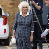 ... denn das dunkelblau-weiß karierteMidi-Kleid mit weißem Bubi-Kragen und ebenfalls weiß-abgesetzten Ärmeln erinnert uns doch sehr an ein Kleid, welches Kate vor wenigen Tagen zum Besuch eines Krankenhauses trug. Die Windsors scheinensich in Sachen Mode eben einig zu sein.
