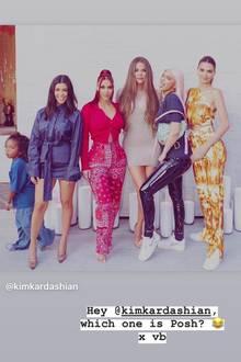 """Sogar original """"Spice Girl"""" Victoria Beckham alias """"Posh Spice"""" geht in ihrer Instagram-Story auf die Hommage ein und fragt Kim Kardashian amüsiert welche von ihnen denn """"Posh Spice"""" sei."""