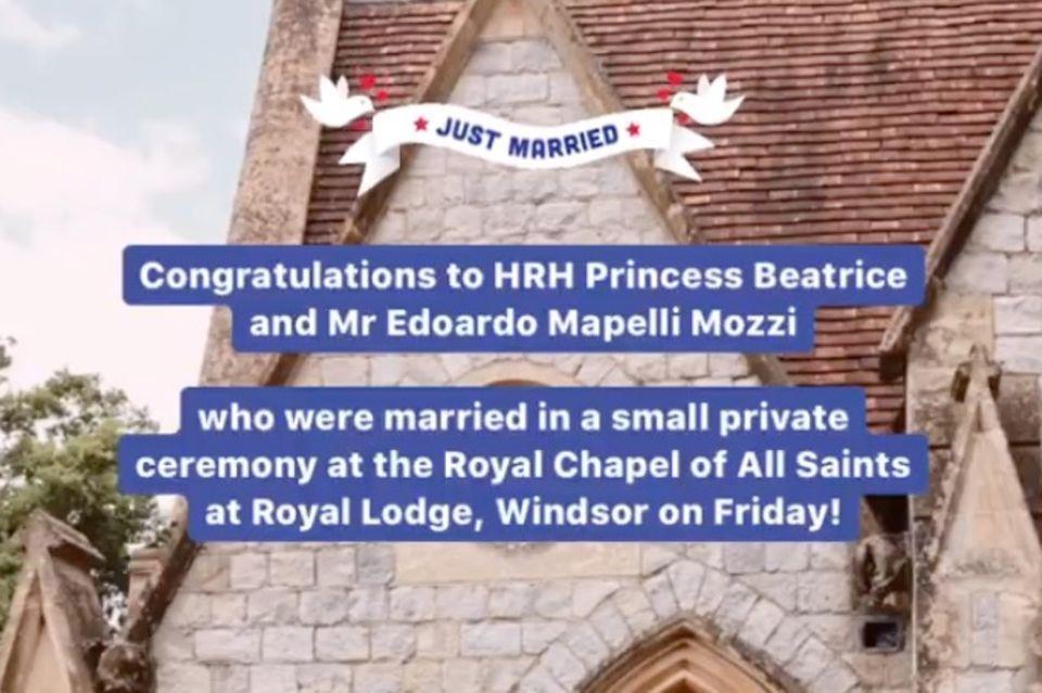 Herzogin Catherine und Prinz William gratulieren Prinzessin Beatrice und Edoardo Mapelli Mozzi.