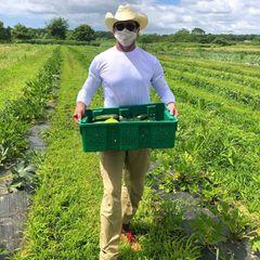 """Hugh Jackman packt als freiwilliger Erntehelfer auf der """"Share The Harvest Farm"""" mit an. Die Organisation hilft bedürftigeFamilien des Long Island East End mit Nahrungsmitteln zu versorgen."""